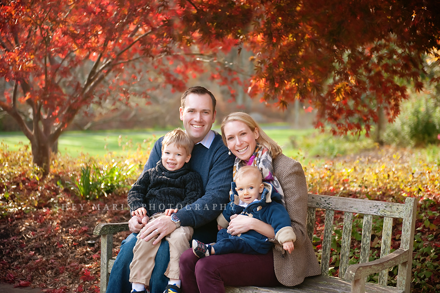 washington DC family in red fall leaves
