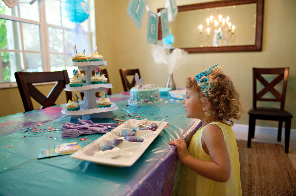 little girl enjoying her birthday party