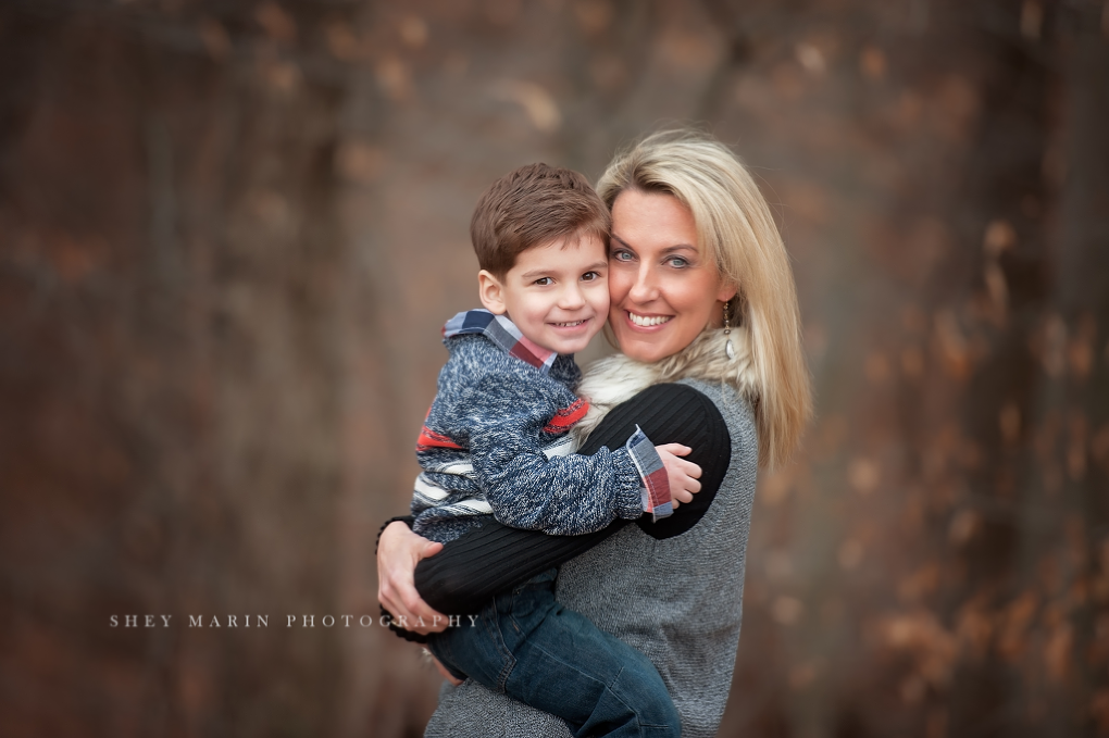 boy and mom in forest | frederick family photographer