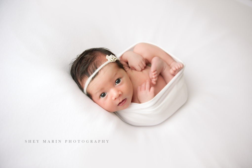 newborn baby girl on white background awake