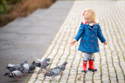 Georgetown waterfront girl and pigeons DC family photosession